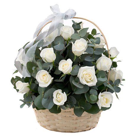 """Желание"". Корзина белых роз"